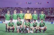 11 June 1990; The Republic of Ireland team, back row, from left, Chris Morris, Steve Staunton, Tony Cascarino, Packie Bonner, Mick McCarthy and Paul McGrath. Front row, from left, John Aldridge, Kevin Sheedy, Ray Houghton, Andy Townsend and Kevin Moran ahead of the FIFA World Cup 1990 Group F match between England and Republic of Ireland at Stadio Sant'Elia in Cagliari, Italy. Photo by Ray McManus/Sportsfile