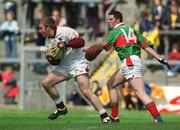 19 May 2002; Galway goalkeeper Michael Killilea in action against Mayo's David Geraghty. Mayo v Galway, Connacht Minor Football Championship, Dr Hyde Park, Co. Roscommon. Picture credit; Damien Eagers / SPORTSFILE