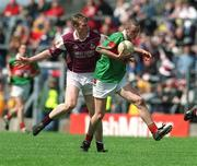 19 May 2002; Colm Forde, Mayo, in action against Barry Cullinane, Galway. Mayo v Galway, Connacht Minor Football Championship, Dr Hyde Park, Co. Roscommon. Picture credit; Damien Eagers / SPORTSFILE