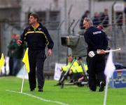 26 May 2002; Meath manager Michael Duignan, left, passes Dublin amanger Kevin Fennelly. Dublin v Meath, Leinster Senior hurling Championship, O'Connor Park, Tullamore, Co. Offaly. Picture credit; Matt Browne / SPORTSFILE