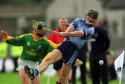 26 May 2002; Shane Martin, Dublin, in action against Charlie Keena, Meath. Dublin v Meath, Leinster Senior hurling Championship, O'Connor Park, Tullamore, Co. Offaly. Picture credit; Matt Browne / SPORTSFILE