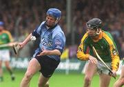 26 May 2002; Tomas McGrane, Dublin, in action against Paul Gannon, Meath. Dublin v Meath, Leinster Senior hurling Championship, O'Connor Park, Tullamore, Co. Offaly. Picture credit; Matt Browne / SPORTSFILE