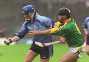 26 May 2002; Kevin Flynn, Dublin, in action against Declan Murray, Meath. Dublin v Meath, Leinster Senior hurling Championship, O'Connor Park, Tullamore, Co. Offaly. Picture credit; Matt Browne / SPORTSFILE