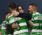12 May 2017; Shamrock Rovers manager Stephen Bradley celebrates with Ronan Finn at the end of the SSE Airtricity League Premier Division game between Bohemians and Shamrock Rovers at Dalymount Park in Dublin. Photo by David Maher/Sportsfile