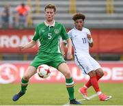 13 May 2017; Nathan Collins of Republic of Ireland in action against Jadon Sancho of England during the UEFA European U17 Championship Quarter-Final game between England and Republic of Ireland at SRC Velika Gorika Stadium in Velika Gorica, Croatia. Photo by Seb Daly/Sportsfile