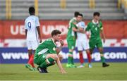 13 May 2017; Nathan Collins of Republic of Ireland reacts following his side's defeat in the UEFA European U17 Championship Quarter-Final game between England and Republic of Ireland at SRC Velika Gorika Stadium in Velika Gorica, Croatia. Photo by Seb Daly/Sportsfile