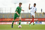 13 May 2017; Nathan Collins of Republic of Ireland in action against Rhian Brewster of England during the UEFA European U17 Championship Quarter-Final game between England and Republic of Ireland at SRC Velika Gorika Stadium in Velika Gorica, Croatia. Photo by Seb Daly/Sportsfile