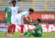 13 May 2017; Adam Idah of Republic of Ireland is consoled by Jadon Sancho of England after the UEFA European U17 Championship Quarter-Final game between England and Republic of Ireland at SRC Velika Gorika Stadium in Velika Gorica, Croatia. Photo by Seb Daly/Sportsfile