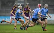 13 May 2017; Kyle Firman of Wexford in action against Lee Gannon of Dublin during the Electric Ireland Leinster GAA Hurling Minor Championship Semi-Final game between Dublin and Wexford at Parnell Park in Dublin. Photo by Brendan Moran/Sportsfile