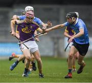 13 May 2017; Ross Banville of Wexford in action against Lee Gannon, left, and Thomas Glynn of Dublin during the Electric Ireland Leinster GAA Hurling Minor Championship Semi-Final game between Dublin and Wexford at Parnell Park in Dublin. Photo by Brendan Moran/Sportsfile