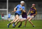 13 May 2017; Lee Gannon of Dublin is tackled by Jack Devereux of Wexford during the Electric Ireland Leinster GAA Hurling Minor Championship Semi-Final game between Dublin and Wexford at Parnell Park in Dublin. Photo by Brendan Moran/Sportsfile
