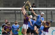 13 May 2017; Eddie Dunbar of Wexford and Lee Gannon of Dublin contest a last minute free in the square during the Electric Ireland Leinster GAA Hurling Minor Championship Semi-Final game between Dublin and Wexford at Parnell Park in Dublin. Photo by Brendan Moran/Sportsfile