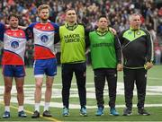 7 May 2017; New York manager Justin O'Halloran stands for the national anthem prior to the Connacht GAA Football Senior Championship Preliminary Round match between New York and Sligo at Gaelic Park in the Bronx borough of New York City, USA. Photo by Stephen McCarthy/Sportsfile