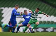 13 May 2017; Michael Drennan of Evergreen FC is tackled by Darren Dunne, supported by Stephen Murphy of Sheriff FC during the FAI Junior Cup Final in association with Aviva and Umbro between Sheriff FC and Evergreen FC at the Aviva Stadium in Dublin. Photo by Ramsey Cardy/Sportsfile