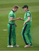 14 May 2017; Ireland bowlers Barry McCarthy, left, and Kevin O'Brien during the One Day International match between Ireland and New Zealand at Malahide Cricket Club in Dublin. Photo by Brendan Moran/Sportsfile