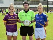 14 May 2017; Referee Stephen McNulty with Fiona Rochford of Wexford, left,  and Samantha Lambert of Tipperary before the Lidl National Football League Division 3 Final Replay match between Tipperary and Wexford at St. Brendan's Park in Birr, Co. Offaly. Photo by Matt Browne/Sportsfile