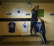 14 May 2017; Laois kitman Paddy Delaney and John Kealy, Secretary, County Hurling Steering Group, right, prepare the Laois dressing room in advance of the Leinster GAA Hurling Senior Championship Qualifier Group Round 3 game between Kerry and Laois at Austin Stack Park in Tralee, Co. Kerry. Photo by Ray McManus/Sportsfile