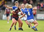 14 May 2017; Kelly Boyce Jordan of Westmeath in action against Donna English and Mona Sheridan of Cavan during the Lidl National Football League Division 2 Final Replay match between Westmeath and Cavan at St. Brendans Park in Birr, Co. Offaly. Photo by Matt Browne/Sportsfile