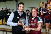 14 May 2017; Leona Archibald of Westmeath is presented with the player of the match trophy by Cathal Cleary after the Lidl National Football League Division 2 Final Replay match between Westmeath and Cavan at St. Brendans Park in Birr, Co. Offaly. Photo by Matt Browne/Sportsfile