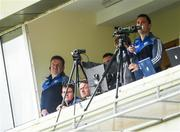 14 May 2017; Laois manager Eamonn Kelly, extreme left, in the TV gantry during the Leinster GAA Hurling Senior Championship Qualifier Group Round 3 game between Kerry and Laois at Austin Stack Park in Tralee, Co Kerry. Photo by Ray McManus/Sportsfile