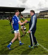 14 May 2017; Patrick Purcell of Laois and Laois manager Eamonn Kelly after the Leinster GAA Hurling Senior Championship Qualifier Group Round 3 game between Kerry and Laois at Austin Stack Park in Tralee, Co Kerry. Photo by Ray McManus/Sportsfile