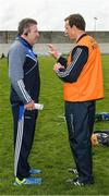 14 May 2017; Laois manager Eamonn Kelly and Ollie Moran in conversation after the Leinster GAA Hurling Senior Championship Qualifier Group Round 3 game between Kerry and Laois at Austin Stack Park in Tralee, Co Kerry. Photo by Ray McManus/Sportsfile