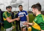 14 May 2017; Rory Horgan, left, and Jack Goulding of Kerry with Leigh Bergin of Laois after the Leinster GAA Hurling Senior Championship Qualifier Group Round 3 game between Kerry and Laois at Austin Stack Park in Tralee, Co Kerry. Photo by Ray McManus/Sportsfile