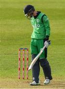 14 May 2017; George Dockrell of Ireland reacts after being caught for one run during the One Day International match between Ireland and New Zealand at Malahide Cricket Club in Dublin. Photo by Brendan Moran/Sportsfile