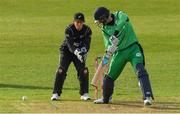 14 May 2017; George Dockrell of Ireland hits a single during the One Day International match between Ireland and New Zealand at Malahide Cricket Club in Dublin. Photo by Brendan Moran/Sportsfile