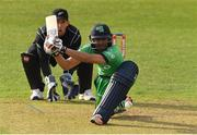 14 May 2017; Simi Singh of Ireland hits from a delivery by Mitchell Santner of New Zealand during the One Day International match between Ireland and New Zealand at Malahide Cricket Club in Dublin. Photo by Brendan Moran/Sportsfile