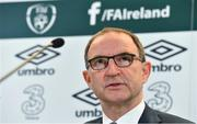 15 May 2017; Republic of Ireland manager Martin O'Neill speaking during a squad announcement at the Aviva Stadium in Dublin. Photo by Brendan Moran/Sportsfile