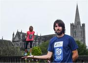 15 May 2017; Olympian Mick Clohisey, right, and Clare Gibbons-McCarthy today launched the SSE Airtricity Dublin Marathon and Race Series at St Patrick's Cathedral, Dublin. All marathon finishers will receive a commemorative medal to mark the 350th anniversary of writer Jonathon Swift's birth, with the race route passing St Patrick's Cathedral, Dublin where Swift was Dean.   Photo by Sam Barnes/Sportsfile