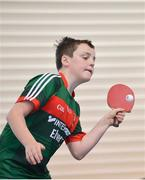 6 May 2017; Oisin Jordan from Balla, Co Mayo, competing in the U13 and O10 Boy's Table Tennis during the Aldi Community Games May Festival 2017 at National Sports Campus, in Abbotstown, Dublin.  Photo by Sam Barnes/Sportsfile
