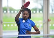6 May 2017; Ruth Goodhead from Deansrath, Co Dublin, competing in the U13 and O10 Girl's Table Tennis during the Aldi Community Games May Festival 2017 at National Sports Campus, in Abbotstown, Dublin.  Photo by Sam Barnes/Sportsfile