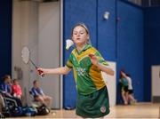6 May 2017; Emily Rose Johnson of Kilcormac - Killoughey, Co Offaly, competing in the U15 and O12 Girl's Badminton during the Aldi Community Games May Festival 2017 at National Sports Campus, in Abbotstown, Dublin.  Photo by Sam Barnes/Sportsfile