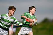 6 May 2017;  Hugh Hamilton of St Brigids Newbridge, Co Kildare, is tagged by Sergey O'Donoghue of St Mary's, Co Sligo, whilst competing in the U14 and O11 mixed tag rugby during the Aldi Community Games May Festival 2017 at National Sports Campus, in Abbotstown, Dublin. Photo by Sam Barnes/Sportsfile