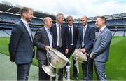 16 May 2017; Sky Sports has announced details of it's biggest and most comprehensive season of GAA coverage yet. Sky Sports will broadcast 14 (out of 20) exclusive fixtures with Dublin's opening fixture on June 3rd in the Leinster Championship quarter-final acting as the curtain-raiser as they attempt to land a hat-trick of All-Ireland titles. Sky Sports will have expert analysis from Jim McGuinness, Peter Canavan, James Horan, Jamesie O'Connor, JJ Delaney, Ollie Canning and many more, including new addition to the analysis team, Monaghan football legend Dick Clerkin. Pictured at the announcement in Croke Park are, from left, JJ Delaney, Peter Canavan, JJ Buckley, Managing Director, Sky Ireland, Jim McGuinness, Noel Quinn, Media Right Manager, GAA, and Jamesie O'Connor. Photo by Brendan Moran/Sportsfile