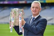 16 May 2017; Sky Sports has announced details of it's biggest and most comprehensive season of GAA coverage yet. Sky Sports will broadcast 14 (out of 20) exclusive fixtures with Dublin's opening fixture on June 3rd in the Leinster Championship quarter-final acting as the curtain-raiser as they attempt to land a hat-trick of All-Ireland titles. Sky Sports will have expert analysis from Jim McGuinness, Peter Canavan, James Horan, Jamesie O'Connor, JJ Delaney, Ollie Canning and many more, including new addition to the analysis team, Monaghan football legend Dick Clerkin. Pictured at the announcement in Croke Park is Nicky English. Photo by Brendan Moran/Sportsfile