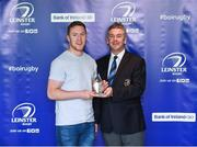 16 May 2017; Rory O'Loughlin of Leinster is presented with a Leinster Rugby Academy Graduation Trophy by Leinster Rugby President Frank Doherty at The Leinster Rugby Academy Graduation. Milltown Golf Club, Dublin. Photo by Matt Browne/Sportsfile