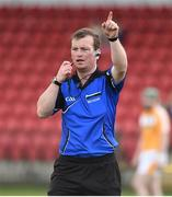 16 April 2017; Referee James Clarke during the Ulster GAA Hurling Senior Championship Final match between Antrim and Armagh at the Derry GAA Centre of Excellence in Owenbeg, Derry. Photo by Oliver McVeigh/Sportsfile