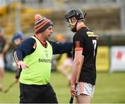 16 April 2017; Armagh manager Sylvester McConnell with Tiarnan Nevin before the Ulster GAA Hurling Senior Championship Final match between Antrim and Armagh at the Derry GAA Centre of Excellence in Owenbeg, Derry. Photo by Oliver McVeigh/Sportsfile