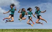 17 May 2017; Girls from Mount Anville Secondary School celebrate after they won the Junior Girls Relay race during the Irish Life Health Leinster Schools Track and Field Day 1 at Morton Stadium in Santry, Dublin. Photo by David Fitzgerald/Sportsfile