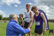 17 May 2017; Philip Marron of Ratoath College receiving his silver medal after finishing second in the Senior boys 2000m Steeplechase during the Irish Life Health Leinster Schools Track and Field Day 1 at Morton Stadium in Santry, Dublin. Photo by David Fitzgerald/Sportsfile