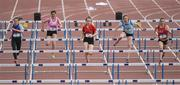 17 May 2017; A general view of the Minor Girls 75m hurdles race during the Irish Life Health Leinster Schools Track and Field Day 1 at Morton Stadium in Santry, Dublin. Photo by David Fitzgerald/Sportsfile