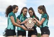 17 May 2017; Girls from Mount Anville College with the trophy after they won the Junior Girls Relay race during the Irish Life Health Leinster Schools Track and Field Day 1 at Morton Stadium in Santry, Dublin. Photo by David Fitzgerald/Sportsfile