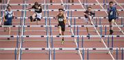17 May 2017; A general view of the Minor boys 75m hurdles race during the Irish Life Health Leinster Schools Track and Field Day 1 at Morton Stadium in Santry, Dublin. Photo by David Fitzgerald/Sportsfile