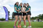 17 May 2017; Girls from Mount Anville College celebrate after they won the Junior Girls Relay race during the Irish Life Health Leinster Schools Track and Field Day 1 at Morton Stadium in Santry, Dublin. Photo by David Fitzgerald/Sportsfile