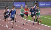 17 May 2017; A general view of the Junior Boys 800m race during the Irish Life Health Leinster Schools Track and Field Day 1 at Morton Stadium in Santry, Dublin. Photo by David Fitzgerald/Sportsfile