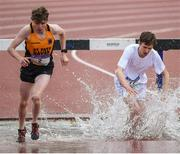 17 May 2017; Fergus Crilly of St Pat's Navan, left, and Patrick Fahey of Blackrock College competing in the Senior Boys 2000m Steeplechase during the Irish Life Health Leinster Schools Track and Field Day 1 at Morton Stadium in Santry, Dublin. Photo by David Fitzgerald/Sportsfile