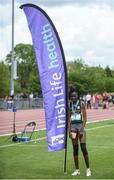 17 May 2017; Rhasidat Adeleke of Presentation Terenure after winning the Junior girls 100m race during the Irish Life Health Leinster Schools Track and Field Day 1 at Morton Stadium in Santry, Dublin. Photo by David Fitzgerald/Sportsfile